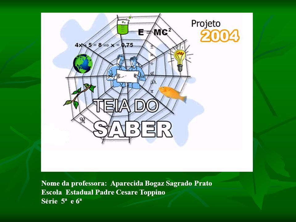 Nome da professora: Aparecida Bogaz Sagrado Prato Escola Estadual Padre Cesare Toppino Série 5ª e 6ª
