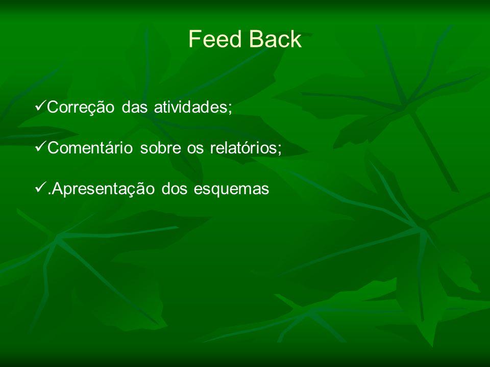 Correção das atividades; Comentário sobre os relatórios;.Apresentação dos esquemas Feed Back