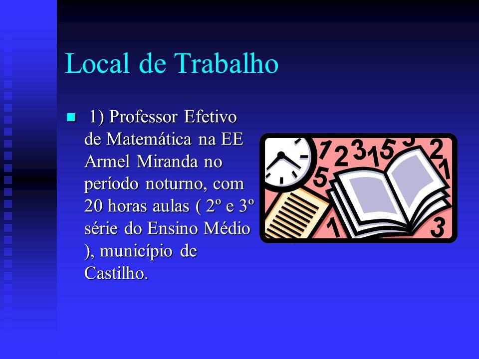 Local de Trabalho 1) Professor Efetivo de Matemática na EE Armel Miranda no período noturno, com 20 horas aulas ( 2º e 3º série do Ensino Médio ), município de Castilho.