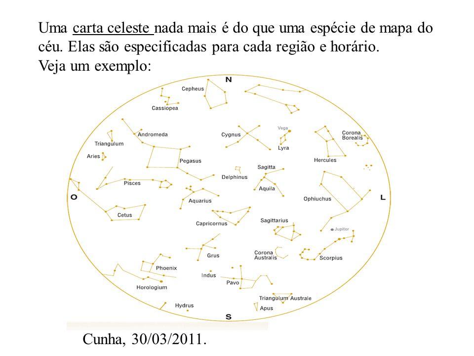Uma carta celeste nada mais é do que uma espécie de mapa do céu. Elas são especificadas para cada região e horário. Veja um exemplo: Cunha, 30/03/2011