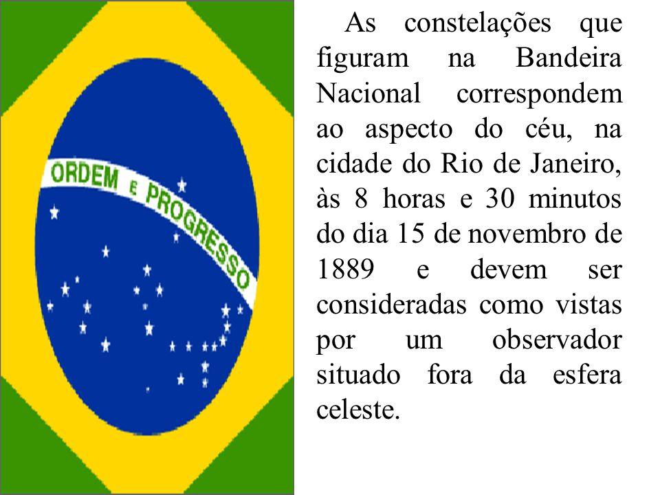 As constelações que figuram na Bandeira Nacional correspondem ao aspecto do céu, na cidade do Rio de Janeiro, às 8 horas e 30 minutos do dia 15 de nov