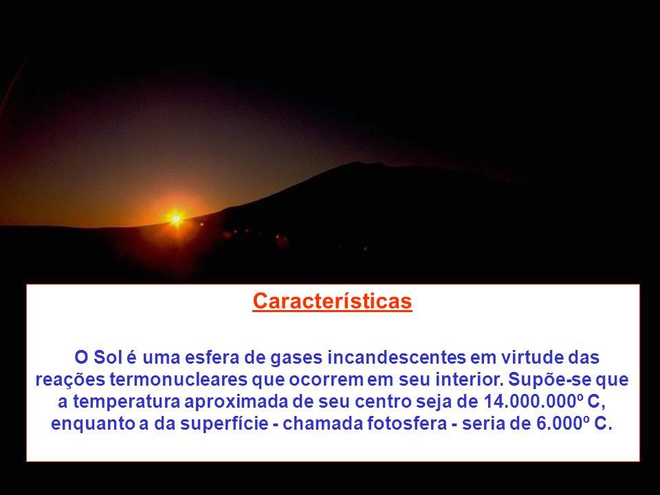 Características O Sol é uma esfera de gases incandescentes em virtude das reações termonucleares que ocorrem em seu interior. Supõe-se que a temperatu
