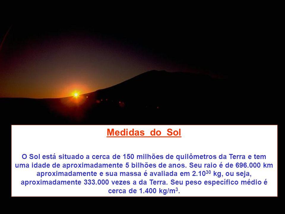 Medidas do Sol O Sol está situado a cerca de 150 milhões de quilômetros da Terra e tem uma idade de aproximadamente 5 bilhões de anos. Seu raio é de 6