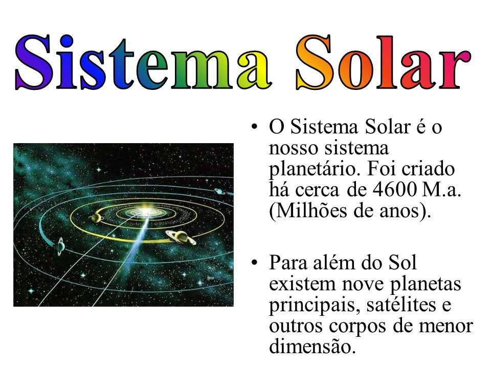 O Sistema Solar é o nosso sistema planetário. Foi criado há cerca de 4600 M.a. (Milhões de anos). Para além do Sol existem nove planetas principais, s