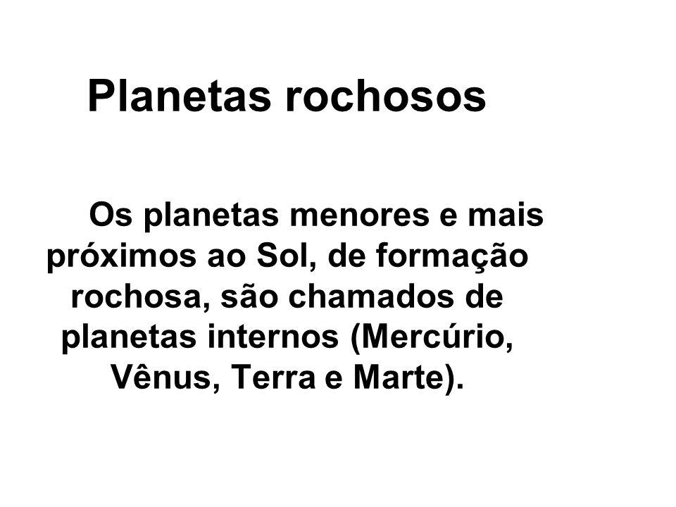 Planetas rochosos Os planetas menores e mais próximos ao Sol, de formação rochosa, são chamados de planetas internos (Mercúrio, Vênus, Terra e Marte).