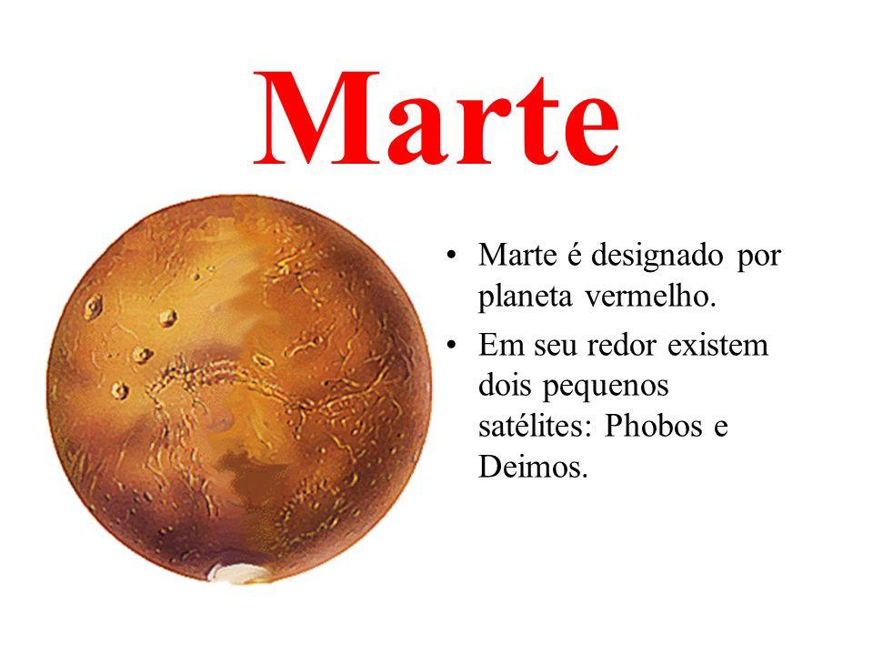 Marte Marte é designado por planeta vermelho. Em seu redor existem dois pequenos satélites: Phobos e Deimos.