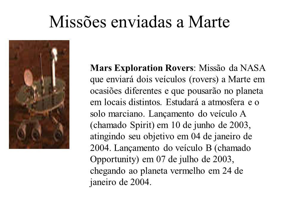 Missões enviadas a Marte Mars Exploration Rovers: Missão da NASA que enviará dois veículos (rovers) a Marte em ocasiões diferentes e que pousarão no planeta em locais distintos.