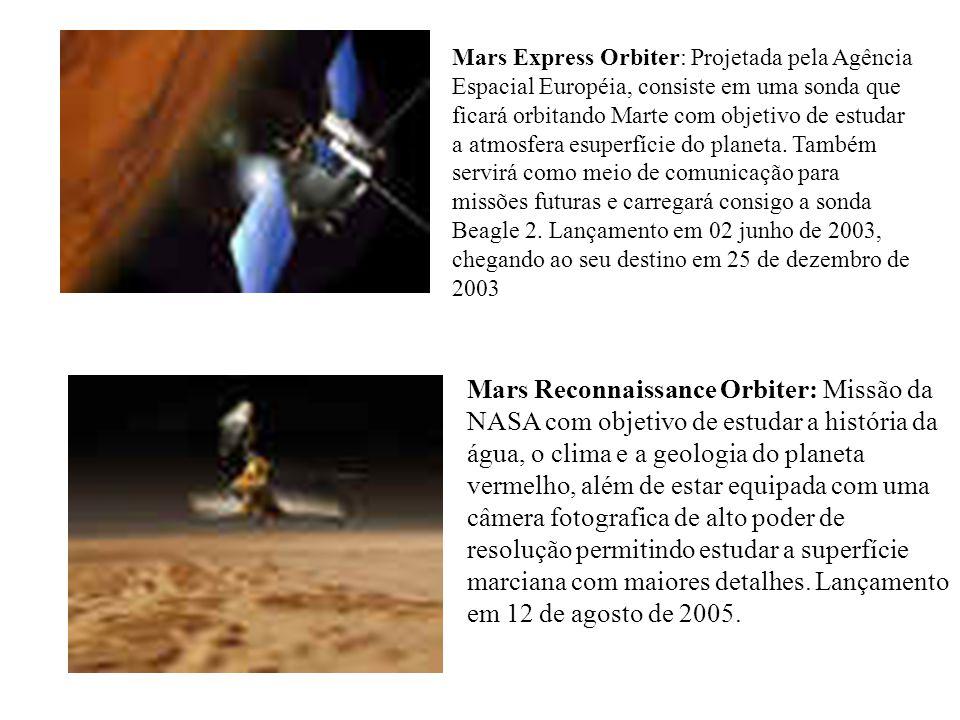 Mars Express Orbiter: Projetada pela Agência Espacial Européia, consiste em uma sonda que ficará orbitando Marte com objetivo de estudar a atmosfera e