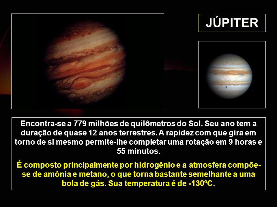 JÚPITER Encontra-se a 779 milhões de quilômetros do Sol. Seu ano tem a duração de quase 12 anos terrestres. A rapidez com que gira em torno de si mesm