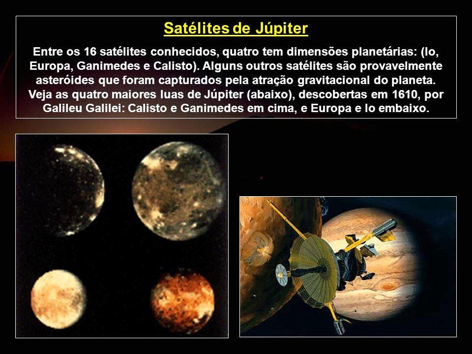 Satélites de Júpiter Entre os 16 satélites conhecidos, quatro tem dimensões planetárias: (Io, Europa, Ganimedes e Calisto). Alguns outros satélites sã