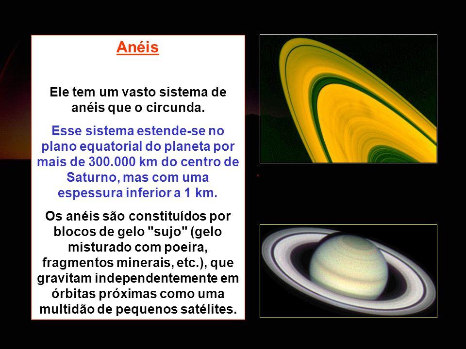 Anéis Ele tem um vasto sistema de anéis que o circunda. Esse sistema estende-se no plano equatorial do planeta por mais de 300.000 km do centro de Sat