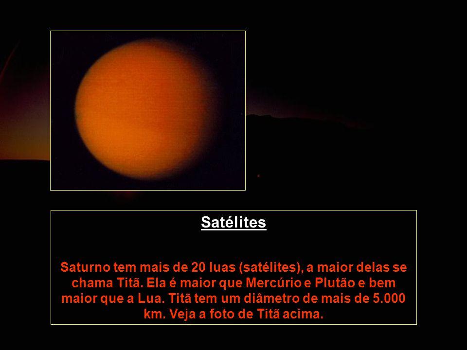 Satélites Saturno tem mais de 20 luas (satélites), a maior delas se chama Titã. Ela é maior que Mercúrio e Plutão e bem maior que a Lua. Titã tem um d