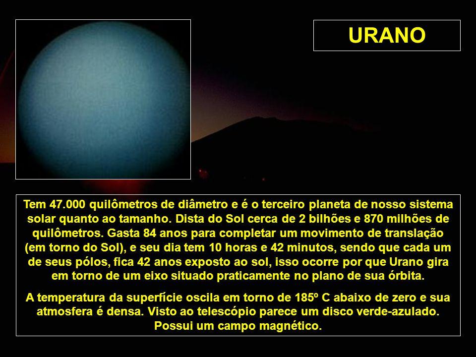 URANO Tem 47.000 quilômetros de diâmetro e é o terceiro planeta de nosso sistema solar quanto ao tamanho. Dista do Sol cerca de 2 bilhões e 870 milhõe