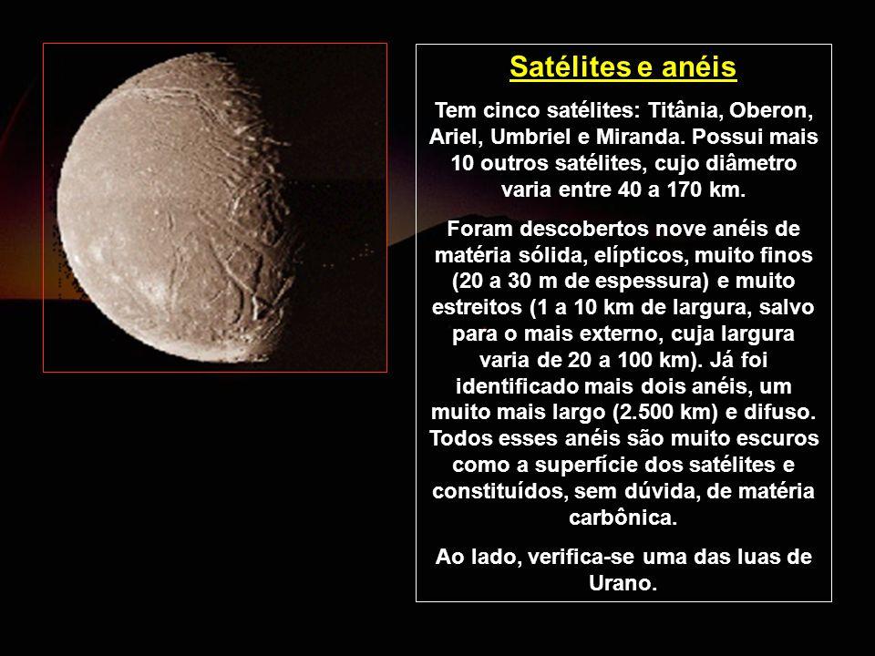 Satélites e anéis Tem cinco satélites: Titânia, Oberon, Ariel, Umbriel e Miranda. Possui mais 10 outros satélites, cujo diâmetro varia entre 40 a 170