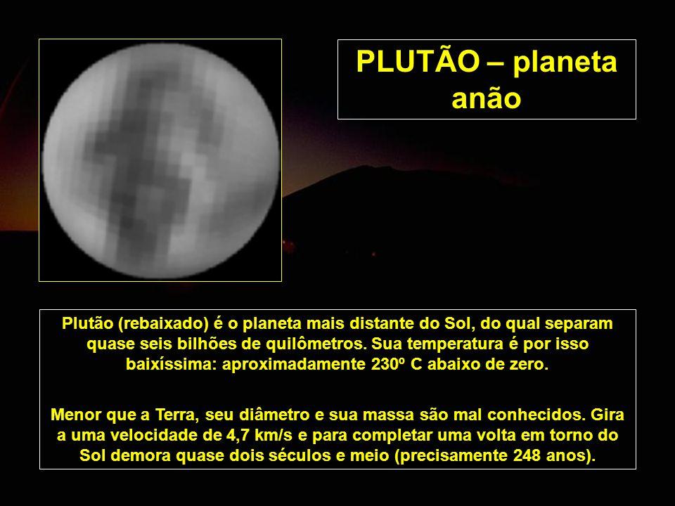 PLUTÃO – planeta anão Plutão (rebaixado) é o planeta mais distante do Sol, do qual separam quase seis bilhões de quilômetros. Sua temperatura é por is
