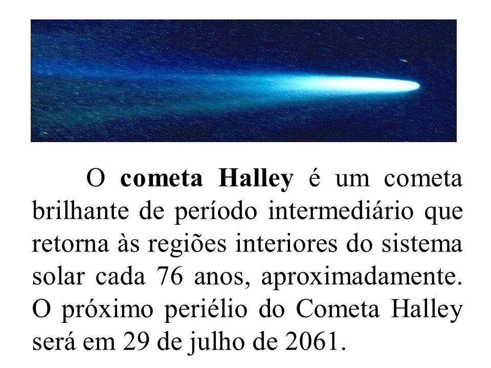 O cometa Halley é um cometa brilhante de período intermediário que retorna às regiões interiores do sistema solar cada 76 anos, aproximadamente. O pró