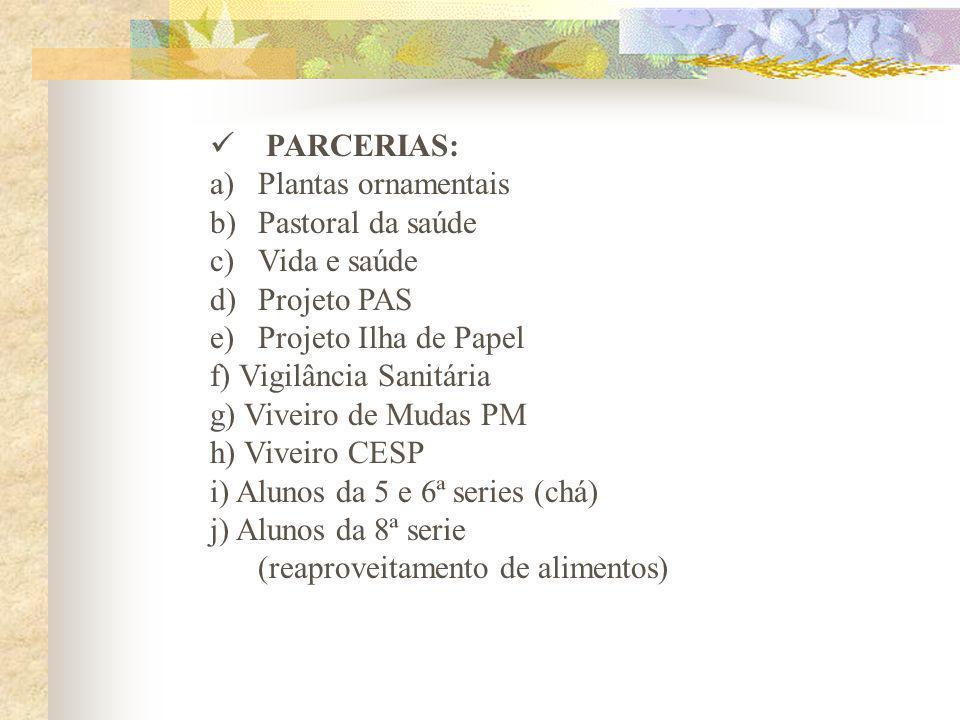 PARCERIAS: a)Plantas ornamentais b)Pastoral da saúde c)Vida e saúde d)Projeto PAS e)Projeto Ilha de Papel f) Vigilância Sanitária g) Viveiro de Mudas