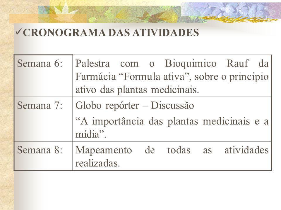 Semana 6:Palestra com o Bioquimico Rauf da Farmácia Formula ativa, sobre o principio ativo das plantas medicinais. Semana 7:Globo repórter – Discussão