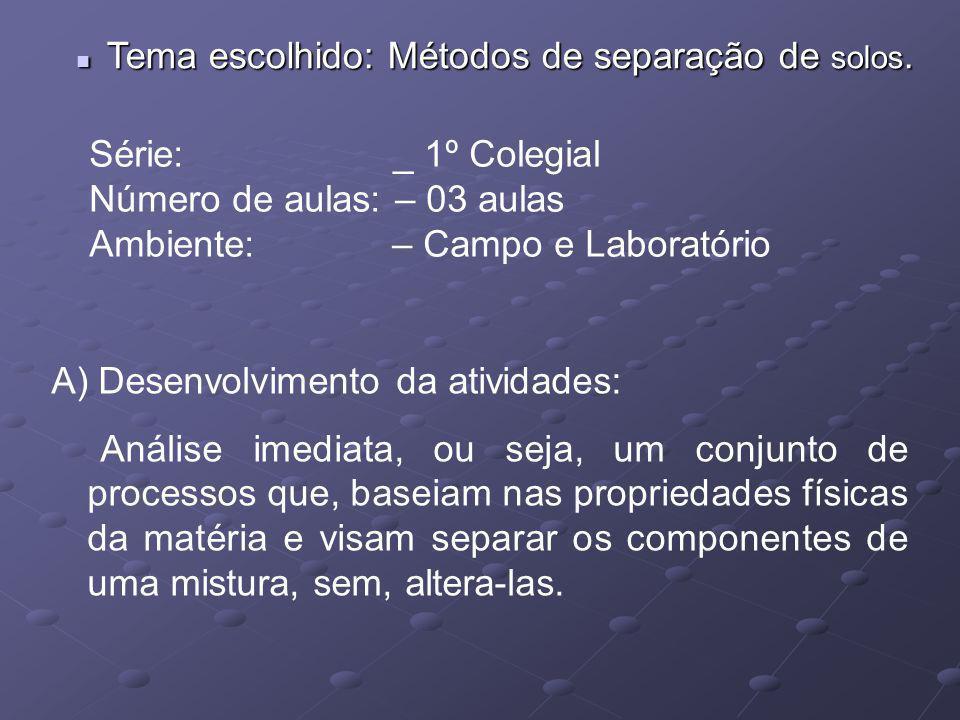 Tema escolhido: Métodos de separação de solos. Tema escolhido: Métodos de separação de solos. Série: _ 1º Colegial Número de aulas: – 03 aulas Ambient