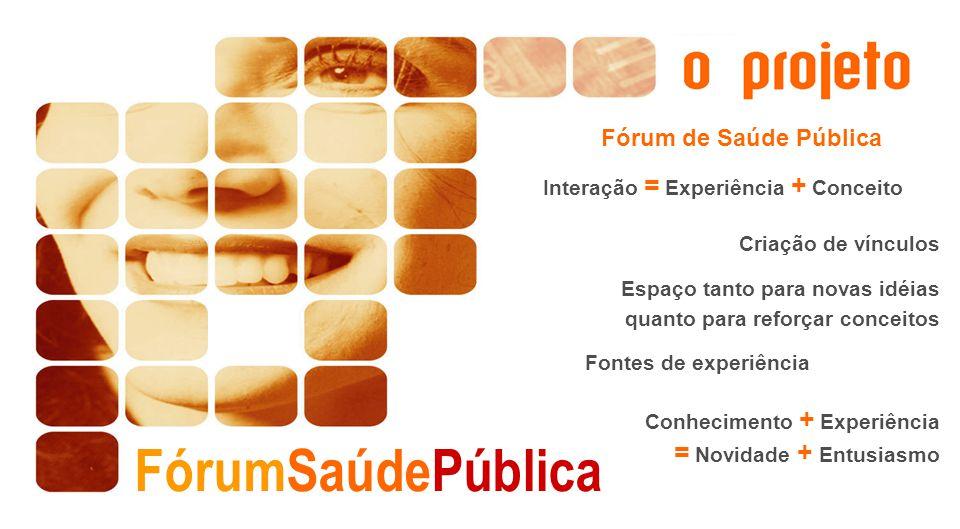 Fórum de Saúde Pública Interação = Experiência + Conceito Criação de vínculos Espaço tanto para novas idéias quanto para reforçar conceitos Fontes de