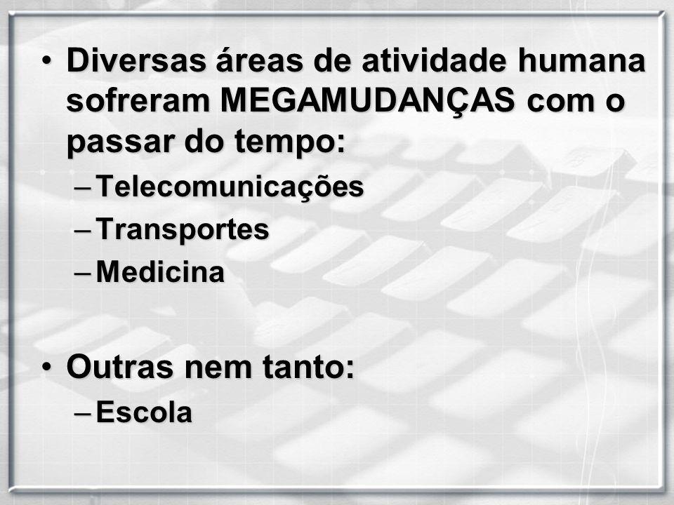 Diversas áreas de atividade humana sofreram MEGAMUDANÇAS com o passar do tempo: –T–T–T–Telecomunicações –T–T–T–Transportes –M–M–M–Medicina Outras nem