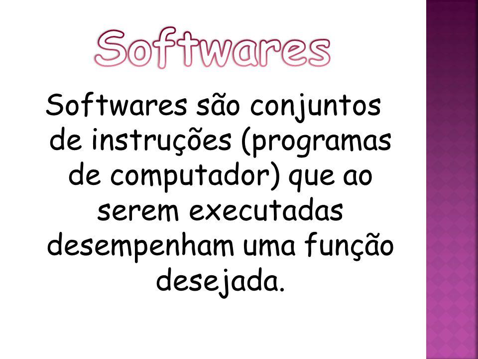 Softwares são conjuntos de instruções (programas de computador) que ao serem executadas desempenham uma função desejada.