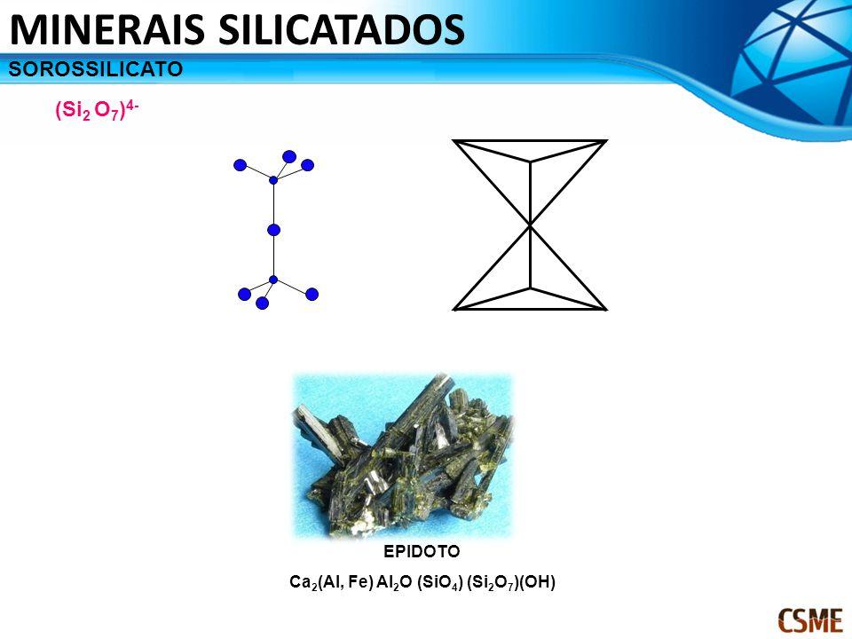 SOROSSILICATO (Si 2 O 7 ) 4- EPIDOTO Ca 2 (Al, Fe) Al 2 O (SiO 4 ) (Si 2 O 7 )(OH) MINERAIS SILICATADOS