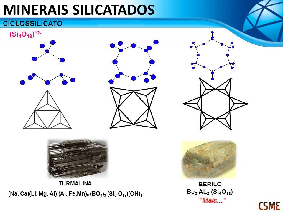 CICLOSSILICATO (Si 4 O 18 ) 12- TURMALINA (Na, Ca)(Li, Mg, Al) (Al, Fe,Mn) 6 (BO 3 ) 3 (Si 6 O 18 )(OH) 4 MINERAIS SILICATADOS BERILO Be 2 AL 2 (Si 4 O 18 ) Mais...
