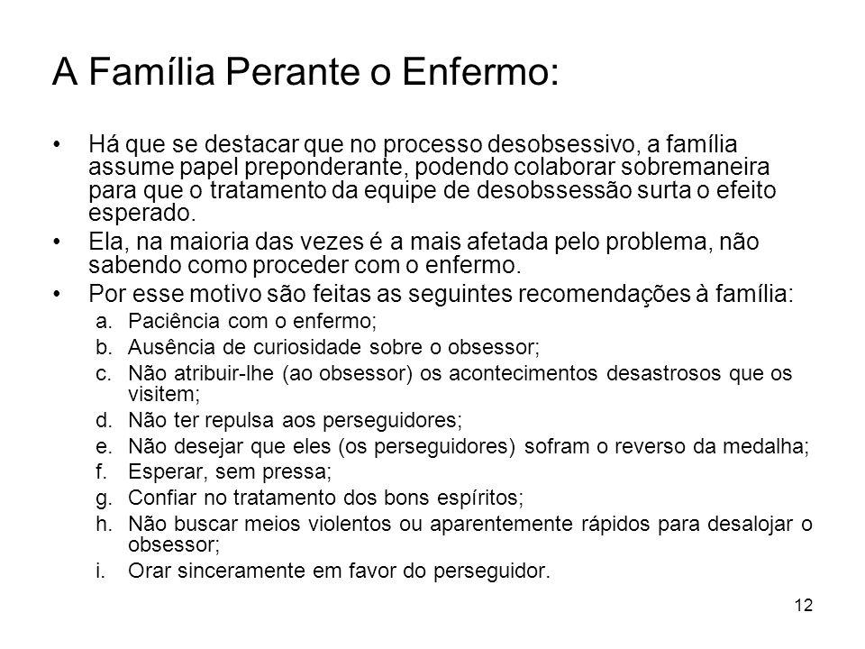 12 A Família Perante o Enfermo: Há que se destacar que no processo desobsessivo, a família assume papel preponderante, podendo colaborar sobremaneira