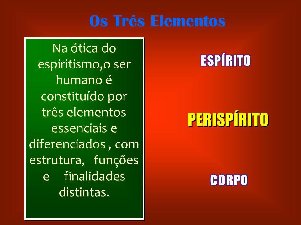 Na ótica do espiritismo,o ser humano é constituído por três elementos essenciais e diferenciados, com estrutura, funções e finalidades distintas. PERI