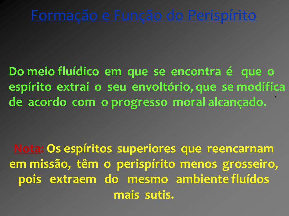 Do meio fluídico em que se encontra é que o espírito extrai o seu envoltório, que se modifica de acordo com o progresso moral alcançado. Nota: Os espí