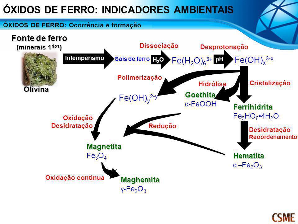 Olivina Fonte de ferro (minerais 1 rios ) Intemperismo Sais de ferro Fe(H 2 O) 6 3+ H2OH2O Dissociação pH Desprotonação pH Fe(OH) x 3-x Goethita α- Fe