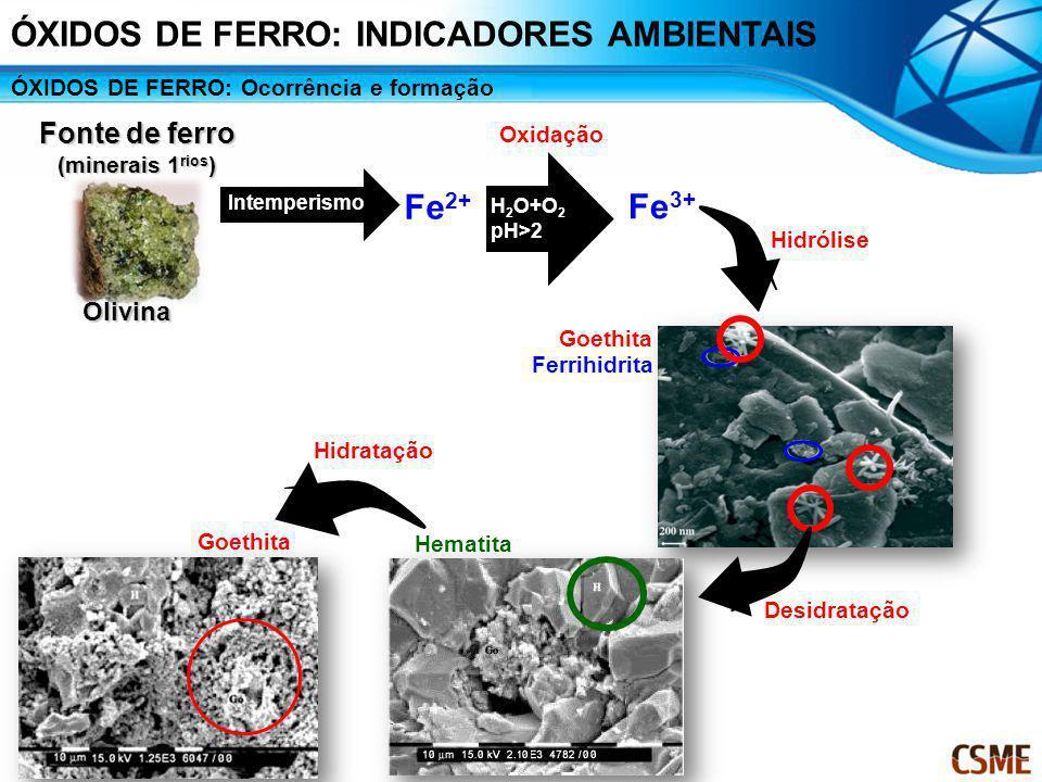 Olivina Fonte de ferro (minerais 1 rios ) Intemperismo Fe 2+ pH H 2 O+O 2 pH>2 Oxidação Fe 3+ Hidrólise Ferrihidrita Goethita Hidratação Hematita Desi