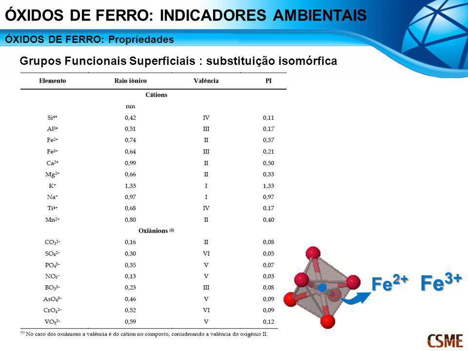 ÓXIDOS DE FERRO: Propriedades Grupos Funcionais Superficiais : substituição isomórfica Fe 2+ Fe 3+ ÓXIDOS DE FERRO: INDICADORES AMBIENTAIS