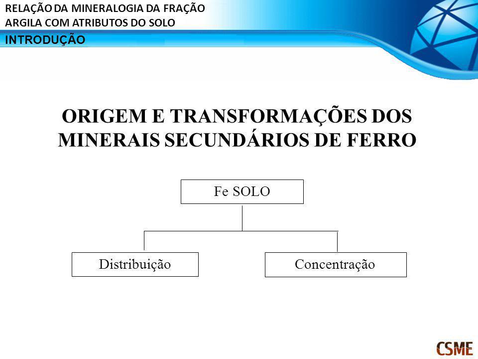 INTRODUÇÃO RELAÇÃO DA MINERALOGIA DA FRAÇÃO ARGILA COM ATRIBUTOS DO SOLO ORIGEM E TRANSFORMAÇÕES DOS MINERAIS SECUNDÁRIOS DE FERRO Fe SOLO Distribuiçã
