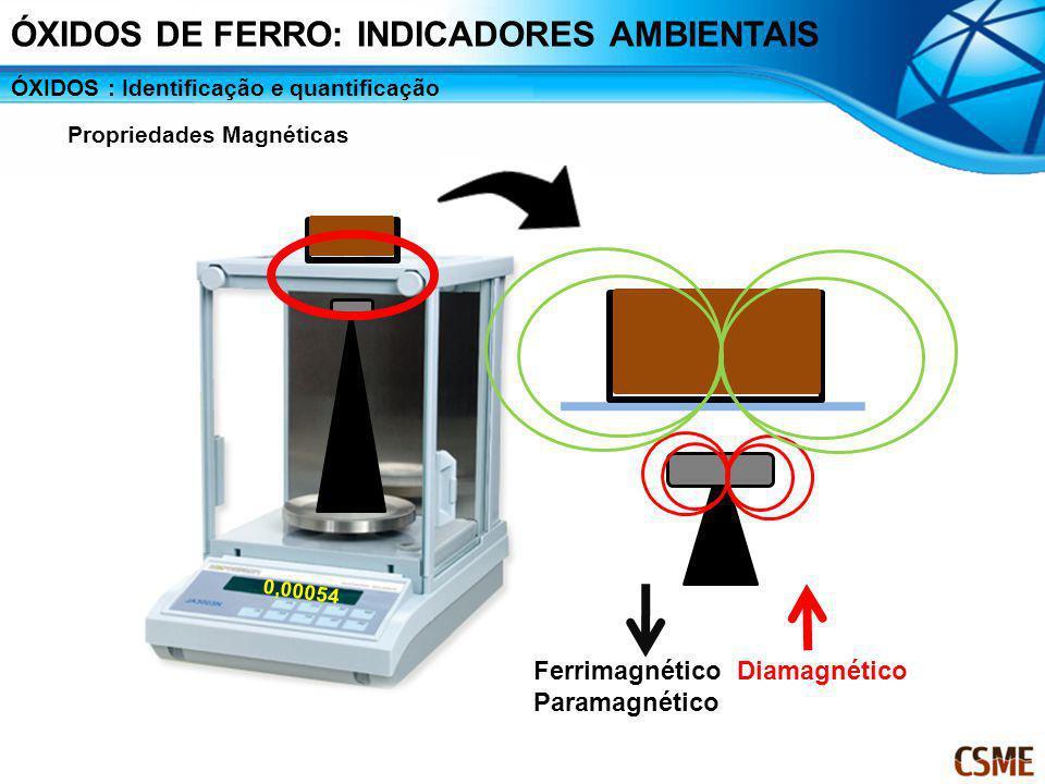0,00054 Ferrimagnético Paramagnético Diamagnético ÓXIDOS : Identificação e quantificação Propriedades Magnéticas ÓXIDOS DE FERRO: INDICADORES AMBIENTA