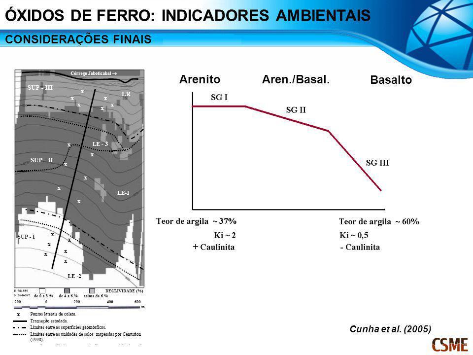 ÓXIDOS DE FERRO: INDICADORES AMBIENTAIS CONSIDERAÇÕES FINAIS Arenito Basalto Aren./Basal. Cunha et al. (2005)