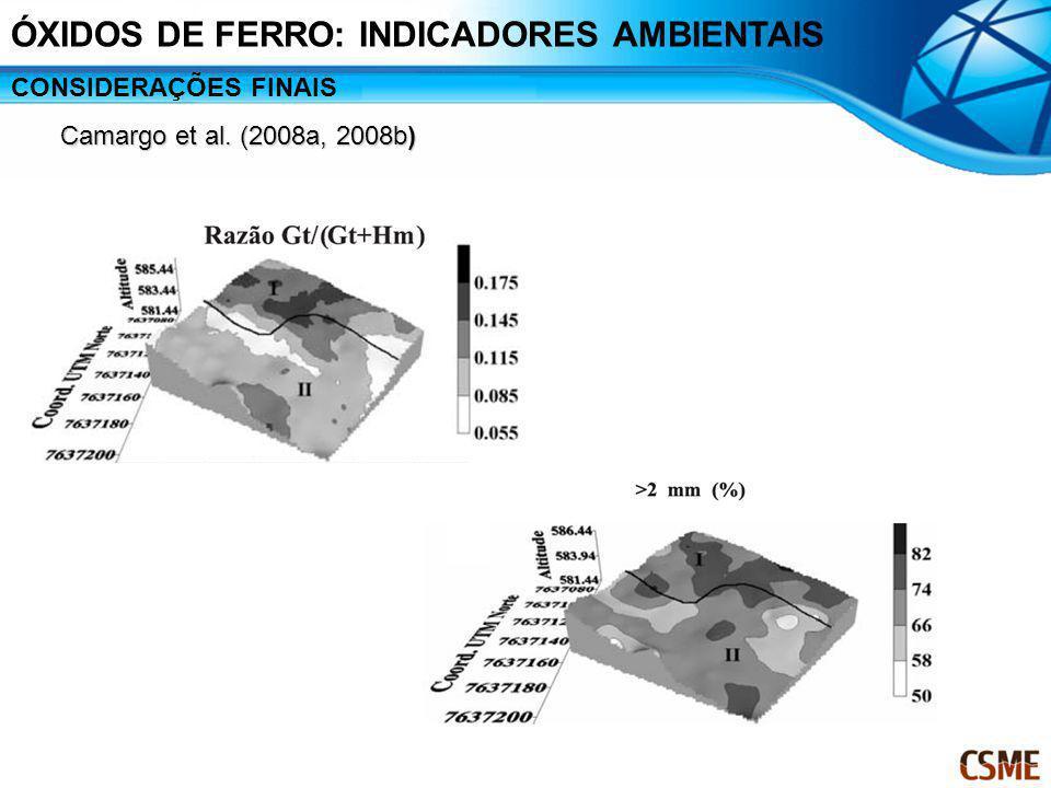 ÓXIDOS DE FERRO: INDICADORES AMBIENTAIS CONSIDERAÇÕES FINAIS Camargo et al. (2008a, 2008b)