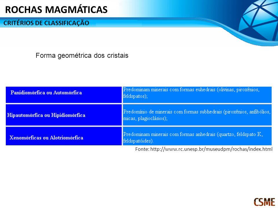 CRITÉRIOS DE CLASSIFICAÇÃO ROCHAS MAGMÁTICAS Forma geométrica dos cristais Fonte: http://www.rc.unesp.br/museudpm/rochas/index.html