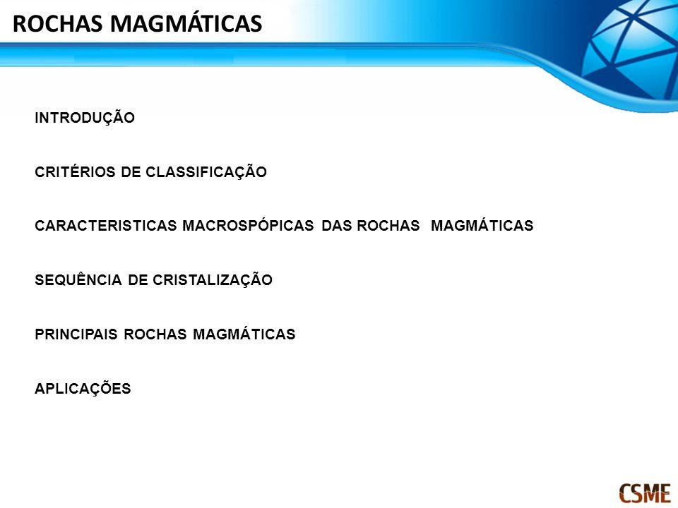 INTRODUÇÃO CRITÉRIOS DE CLASSIFICAÇÃO CARACTERISTICAS MACROSPÓPICAS DAS ROCHAS MAGMÁTICAS SEQUÊNCIA DE CRISTALIZAÇÃO PRINCIPAIS ROCHAS MAGMÁTICAS APLICAÇÕES ROCHAS MAGMÁTICAS