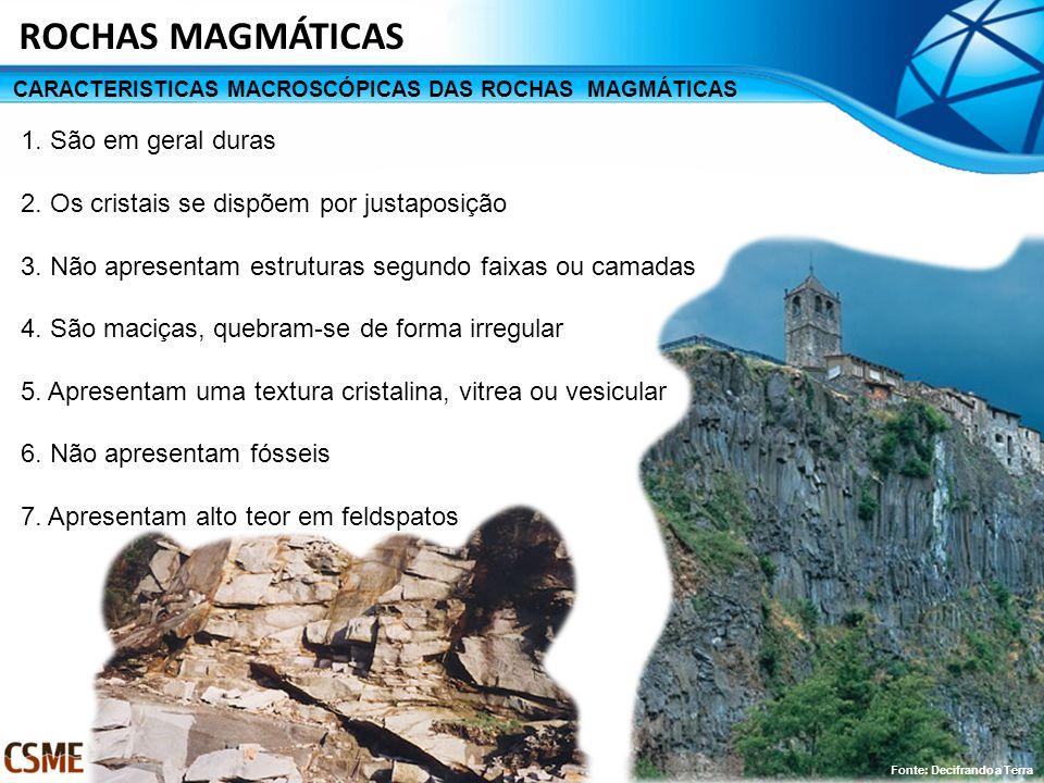 CARACTERISTICAS MACROSCÓPICAS DAS ROCHAS MAGMÁTICAS ROCHAS MAGMÁTICAS 1. São em geral duras 2. Os cristais se dispõem por justaposição 3. Não apresent