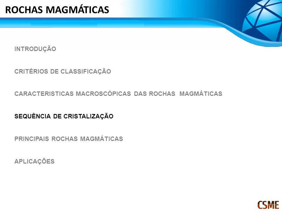 ROCHAS MAGMÁTICAS INTRODUÇÃO CRITÉRIOS DE CLASSIFICAÇÃO CARACTERISTICAS MACROSCÓPICAS DAS ROCHAS MAGMÁTICAS SEQUÊNCIA DE CRISTALIZAÇÃO PRINCIPAIS ROCHAS MAGMÁTICAS APLICAÇÕES
