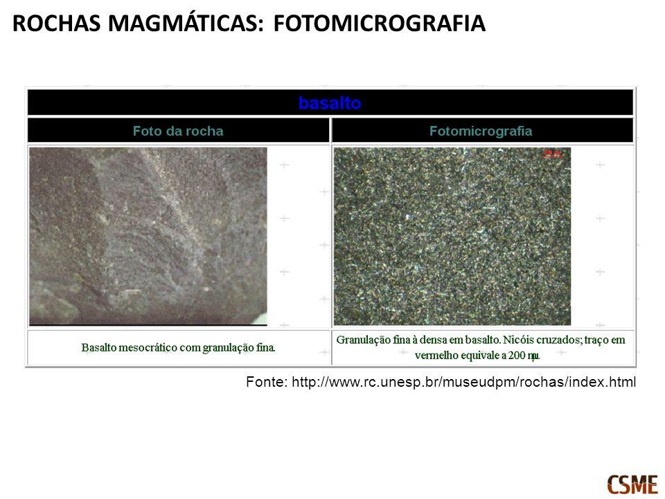 ROCHAS MAGMÁTICAS: FOTOMICROGRAFIA Fonte: http://www.rc.unesp.br/museudpm/rochas/index.html