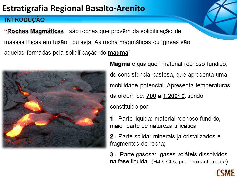 Estratigrafia Regional Basalto-Arenito INTRODUÇÃO Rochas MagmáticasRochas Magmáticas são rochas que provêm da solidificação de massas líticas em fusão, ou seja, As rocha magmáticas ou ígneas são aquelas formadas pela solidificação do magma Magma Magma é qualquer material rochoso fundido, de consistência pastosa, que apresenta uma mobilidade potencial.