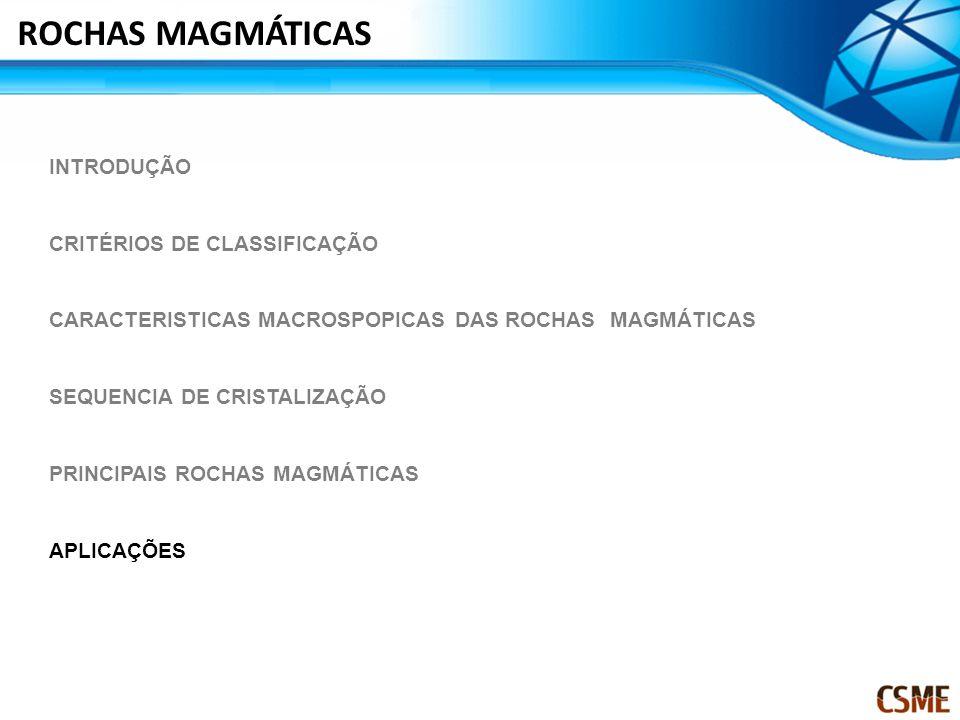 INTRODUÇÃO CRITÉRIOS DE CLASSIFICAÇÃO CARACTERISTICAS MACROSPOPICAS DAS ROCHAS MAGMÁTICAS SEQUENCIA DE CRISTALIZAÇÃO PRINCIPAIS ROCHAS MAGMÁTICAS APLICAÇÕES ROCHAS MAGMÁTICAS