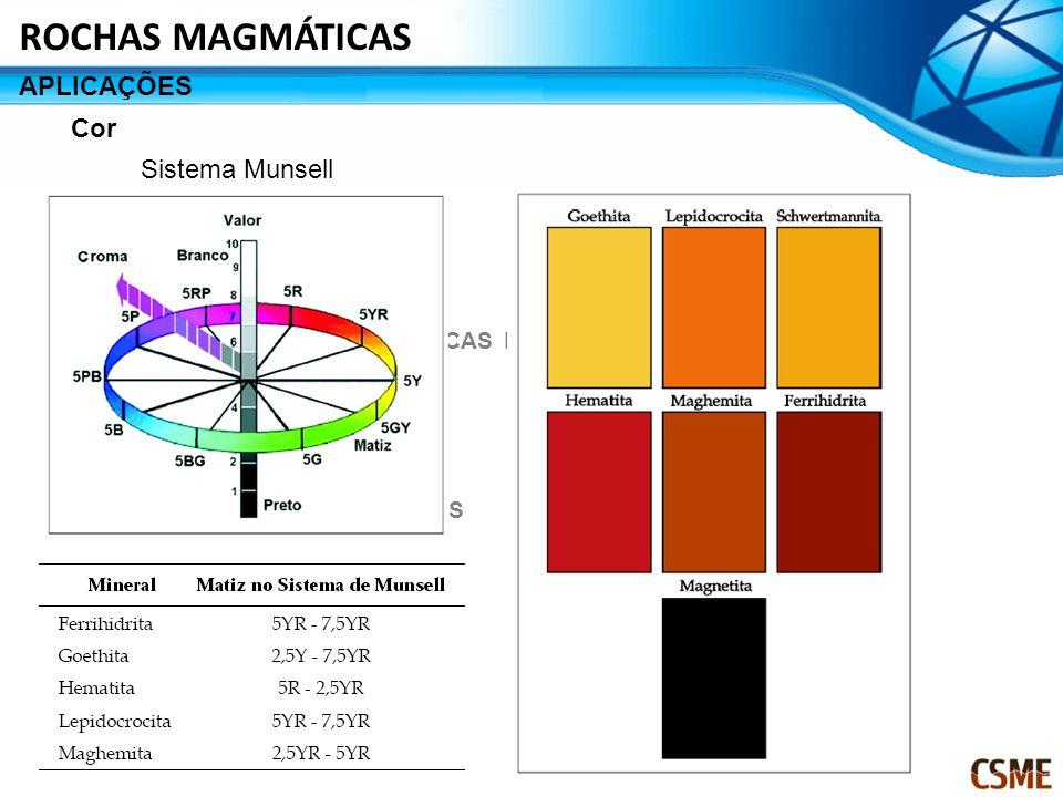 CRITÉRIOS DE CLASSIFICAÇÃO CARACTERISTICAS MACROSPOPICAS DAS ROCHAS MAGMÁTICAS SEQUENCIA DE CRISTALIZAÇÃO PRINCIPAIS ROCHAS MAGMÁTICAS CONSIDERAÇÕES FINAIS Cor Sistema Munsell APLICAÇÕES