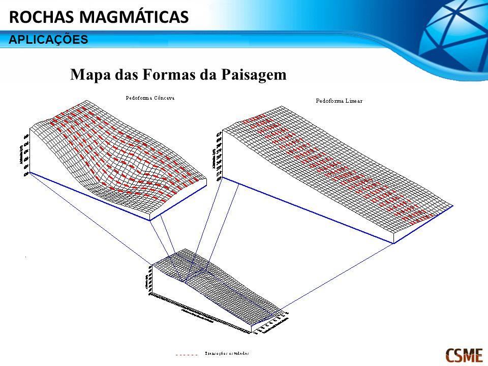 Mapa das Formas da Paisagem ROCHAS MAGMÁTICAS APLICAÇÕES