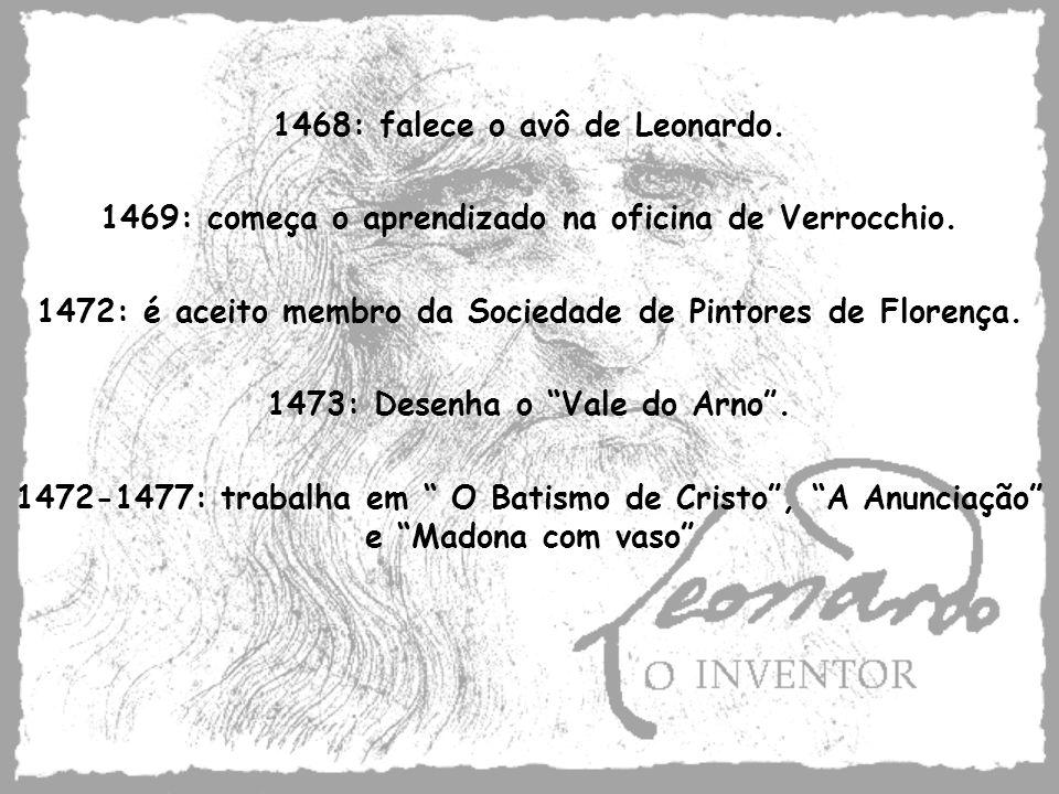 1468: falece o avô de Leonardo. 1469: começa o aprendizado na oficina de Verrocchio. 1472: é aceito membro da Sociedade de Pintores de Florença. 1473: