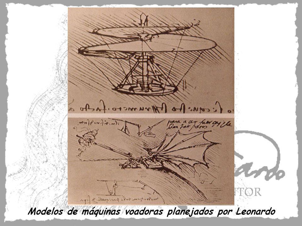 Modelos de máquinas voadoras planejados por Leonardo