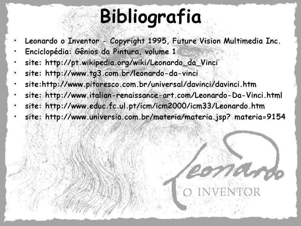 Bibliografia Leonardo o Inventor - Copyright 1995, Future Vision Multimedia Inc. Enciclopédia: Gênios da Pintura, volume 1 site: http://pt.wikipedia.o